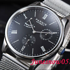 42mm PARNIS men's watch black dial power reserve Bracelet Seagull movement 942