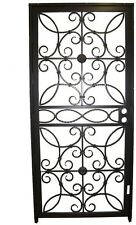 Grisham Door. 467 Series 36 In. X 80 In. Black Prehung Universal Hinging Outswing Wrought Iron Security Door With Double Bore Lockbox 46799