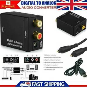Digital to Analog Optical Coax Toslink Adapter Converter RCA L/R Stereo Audio HD