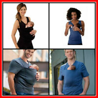Kangaroo Pocket T-shirt Baby Carrier Tops Mom Dad Family Front Sling Swaddling