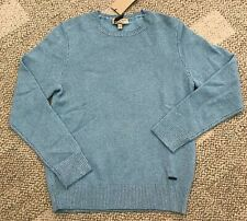 Burberry Mens Linchmere Pullover 100% Cashmere Sweater Eucalyptus Size Medium