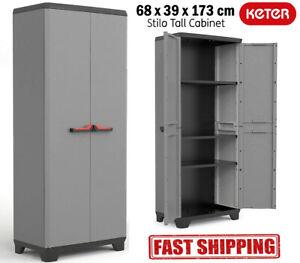 Tall Plastic Cupboard Storage Outdoor Garden Shelves Utility Cabinet Box UK N...