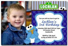 Cookie Monster Photo Personalised Birthday Invitation