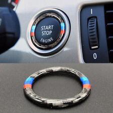 1pcs Carbon Fiber M Stripe Engine Start Button Cover Ring Trim Fits BMW E90 E92
