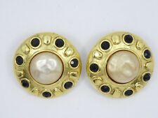 VINTAGE SIGNED CAROLEE FAUX BAROQUE PEARL JEWELED EARRINGS ~ 1.25""