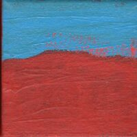 Abstract Painting Art Untitled Red Blue Wall Decor Artist with Autism