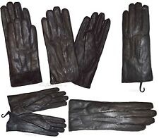 Leather gloves. (L) Woman's Thick winter Leather Dress Gloves Black Warm Gloves*