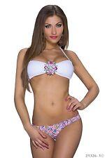 Bikini-Set  Push up mit Schmuck Bademode Damen Bandeau-Form Gr. 36/38 Cup B Weiß