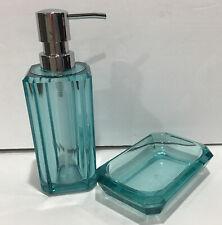 Aqua Blue Acrylic Plastic Glass Pump Soap Dispenser with Matching Soap Dish