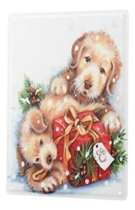 Tin Sign Christmas Decoration gift Dogs Metal Plate 8X12