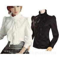 gorgeous Top Ladies Fashion Shirts Womens Vintage Satin Shirt Victorian Blouse
