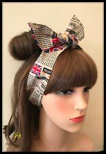 Black White Newspaper Fabric Union Jack Flag Headband Bandana Hairband Hair Tie