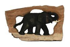 Holz-Elefant SINGLE geschnitzt im Naturholzrahmen, Wand-Dekoration, Wandbild