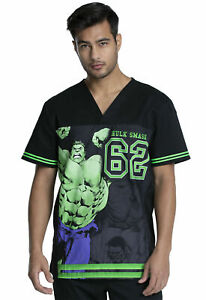 Incredible Hulk Cherokee Scrubs Tooniforms Marvel V Neck Top TF702 MAIX