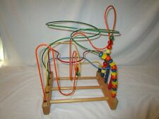 VINTAGE LARGE ROLLER COASTER BY ANATEX ENTERPRISES WOODEN BEAD MAZE INTERACTIVE
