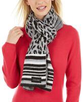 Calvin Klein Womens Leopard Jacquard Scarf Heather Mid Grey