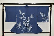 VINTAGE SILK HAORI JACKET:Wax Batik Indigo Hagi Flower@Y215