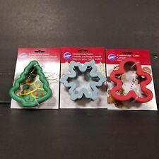 Wilton Christmas Santa Gingerbread Boy Snowflake Metal Cookie Cutters Lot 3
