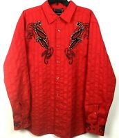 Patronicito Men's long sleeve shirt, Sz XL, Bright red with rhinestone detail