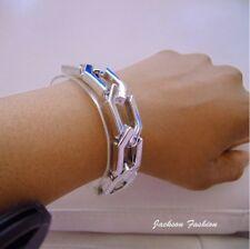 CLEAR TRANSPARENT Perspex Lucite plastic silver chain link adjustable bracelet