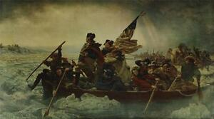 Vintage Lg Lithograph EMANUEL LEUTZE Washington Crossing The Delaware #305P