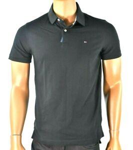 Tommy Hilfiger Mens Polo Shirt New M Black Slim Fit Short Sleeves