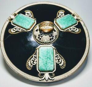 1920s French Art Deco Black Enamel and Green Glass Circular Hand Mirror