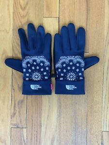 Supreme X The North Face Bandana Gloves L Navy New York SF Paisley E-Tip TNF