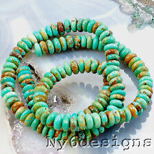 """*6x3mm Natural Green Hubei Turquoise Rondelle Beads 15"""" (TU801)a"""