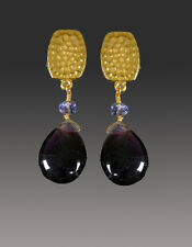 24K Ultraplate Dangle Clip Earrings Bess Heitner Grade Aa Amethyst Teardrop