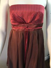 Bebe NWT Polka Dot Strapless Dress SZ Small 100% Silk Red/brown