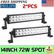 2X 14inch 72W PHILIPS LED Work Light Bar Spot Beam Tractor Boat OffRoad 4WD JEEP
