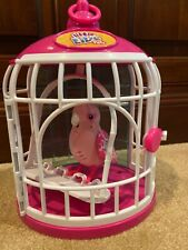 "Little Live Pets Bird & Cage Pink White Swing 9"" Pink Ruby Red talks sings"