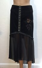 Womens VOYAGE PASSION Amour Black Cordoroy Sheer Bead Beaded SKIRT IT 40 US 6
