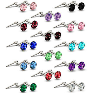 STERLING SILVER ANDRALOK STUDS WHITE 3MM CZ COLOUR CUBIC ZIRCONIA ROUND EARRINGS