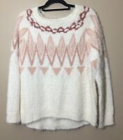 LC Lauren Conrad Women's XL Fair Isle Gardenia Cream Eyelash Fuzzy Soft Sweater
