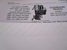 ORIGINAL 1935 1936 Studebaker Trucks Carter Carbureter Spec / Info Sheet