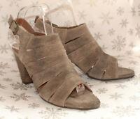 "Clarks Freeflex Greige Suede Peep Toe Slingback Shoes/Sandals 3"" Stack Heel UK 5"