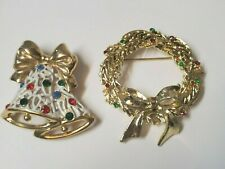 Vintage Christmas Brooch Pins Bell & Wreath Antique Collectible Jewelry