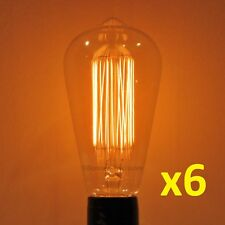 6-PACK 40W Edison Bulb, MARCONI Antique Style Thread Filament, 40 Watt