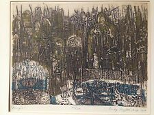 Rudy Pozzatti Etching- Perugia, signed and dated 1961 mid- century art