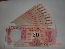 INDIA PAPER MONEY- 10 X RS 20/- OLD  NOTES -MANMOHAN SINGH- EX PM -RARE-E-9 #AA1