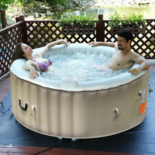 Portable Inflatable Bubble Massage Spa Hot Tub 4 Person Relaxing Outdoor White