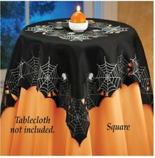 Spooky Webs & Creepy Spiders Halloween Square Polyester Tablecloth