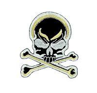 Skull white biker patch backpack black beige iron on/sew pirate backpack