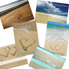 100 Personalised Beach Sand Wedding Day Evening Invitations incls envelopes