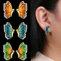 Charm Fashion Gold Tone Crystal Rhinestone Butterfly Stud Earrings Jewelry Gift