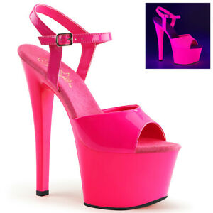 Pleaser SKY-309UV Womens Hot Pink Platform Ankle Strap Sandals Clubwear Heels