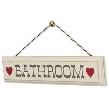 dotcomgiftshop RUSTIC WOODEN BATHROOM SIGN WITH HEARTS. VINTAGE WALL DETORATION