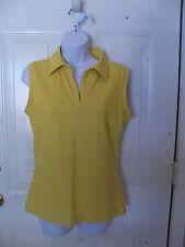 Nike Fit Dry Golf Polo Tank Tee Top Shirt Yellow /Purple Striped Size M Women's